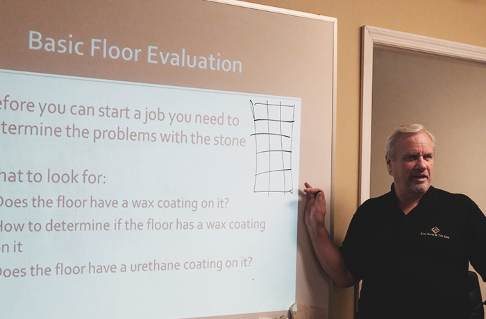 John Freitag teaching a course at The Stone and Tile School
